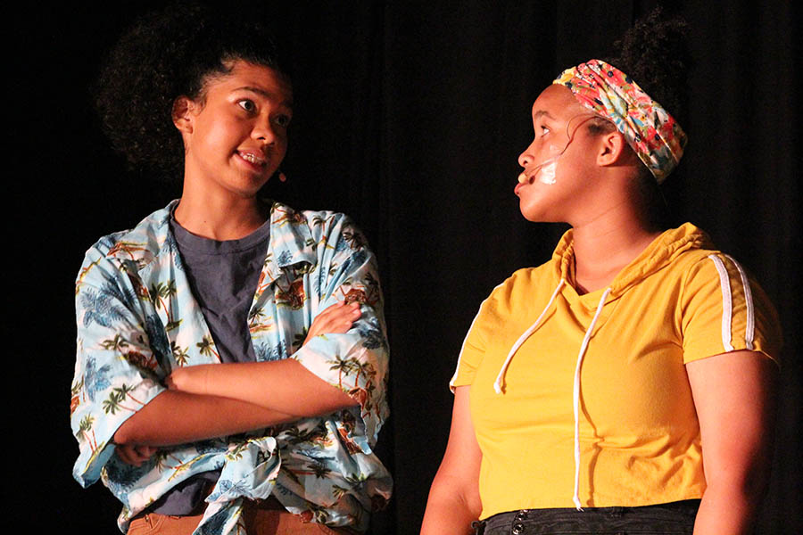Alumna Gwyn Powell and sophomore Tyra Frazier performed in last year's Night of One Acts Oct. 3. Night of One Acts auditions for this year are Sept. 4 at 3:45 p.m.