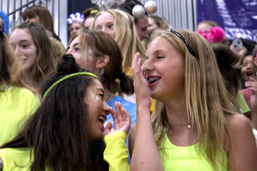 While+learning+the+%E2%80%9CN-D-S+the+best%21%E2%80%9D+chant%2C+freshmen+Aleigh+Mckelvey+and+Mallory+Vance+share+a+laugh+at+the+pep+assembly+on+Sep.+10.+