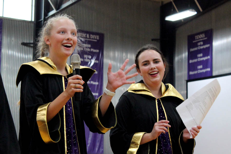 Scream+Team+leaders+Brie+Bowes+and+Allie+Dierks+teach+chants+for+St.+Teresa%27s+Academy+volleyball+game+during+the+pep+assembly+Sep.+10.+