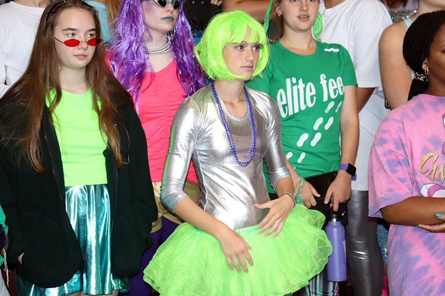 Dressed+in+silver+metalic+and+green+neon%2C+Senior+Holly+Frey+gathered+in+the+Grande+Salle+for+a+meeting+following+the+first+peer+ministry+lunch+Sept.+10.+The+Spirit+Week+theme+for+the+day+was+Area+51.+