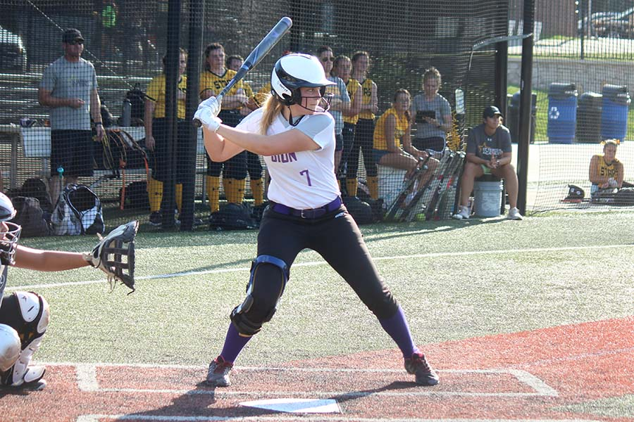Junior Sharon Kramschuster winds up to bat in the top of the third inning during the game at St. Teresa's Academy Sept. 18. Varsity lost 10-0.
