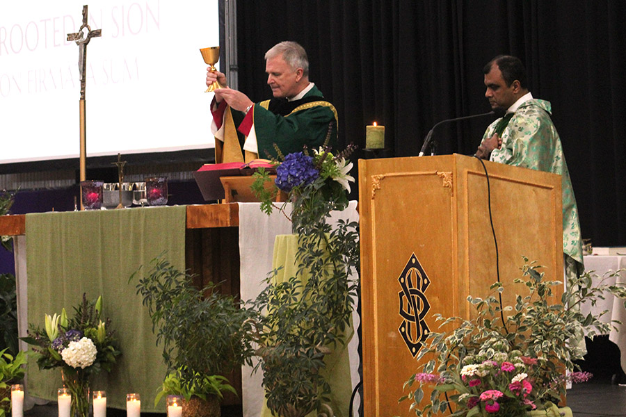 Kansas City-St. Joseph regional Bishop James Vann Johnston and Father Sunoj Thomas led this years all-school Mass Sept. 6.