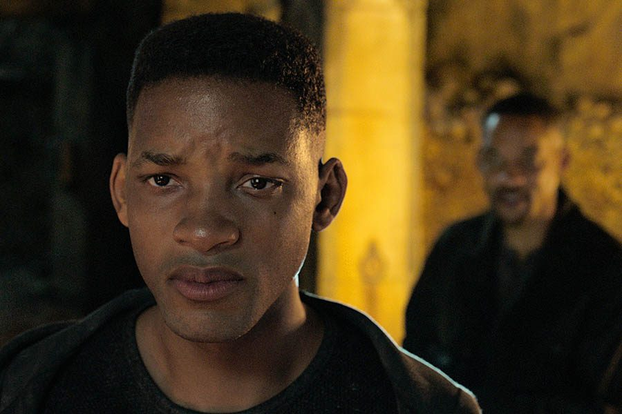 Will+Smith%2C+portraying+Junior%2C+foreground%2C+and+Henry+Brogan+in+the+Ang+Lee+film+%22Gemini+Man.%22+%5BParamount+Pictures%5D