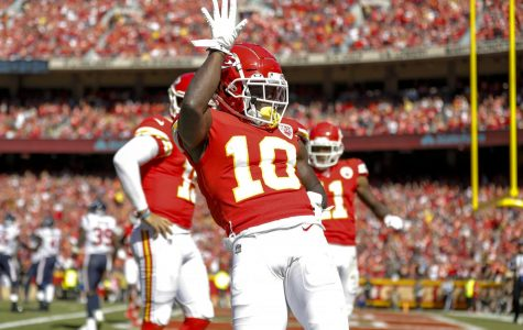 Tyreek Hill celebrates his third quarter touchdown against the Houston Texans Oct. 13. Kansas City Chiefs lost 31-24 at Sunday's game. The Chiefs are set to play  the Denver Broncos Thursday, Oct. 17 at 7:20 p.m.