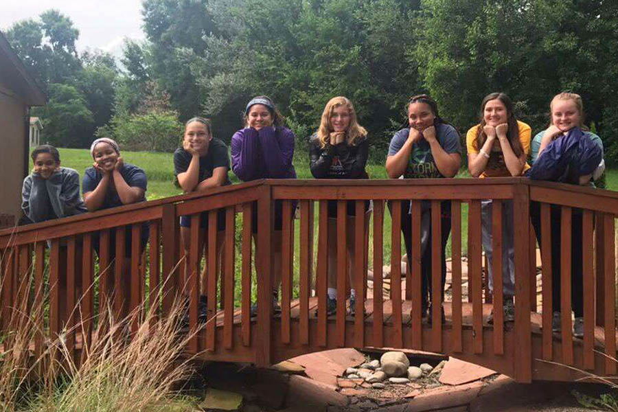 Sophomore Iman Hollins, sophomore Tyra Frazier, junior Annabelle Miller, junior Genevieve Klobe, sophomore Juliana Nelson, senior Tehya Frederick, senior Gresha Burton and senior Iris Evans traveled with theology teacher Polly Holmes to Winnebago, Nebraska for a service trip this past summer. This trip marked Frederick's second year visiting the Winnebago community.