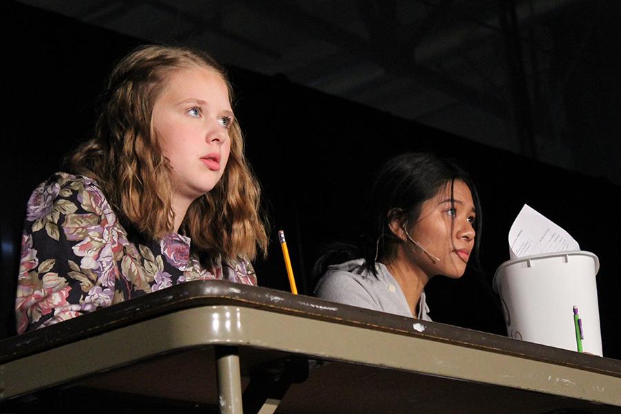 Freshman Addie Hiestand and Senior Cara Hiatt performed as Samantha and Trudy in
