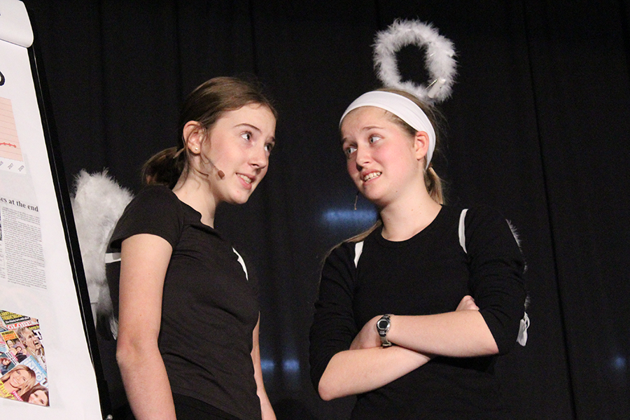 Freshmen Ellie Meredith and Lauren Millard performed as angels Raquel and Michaela in