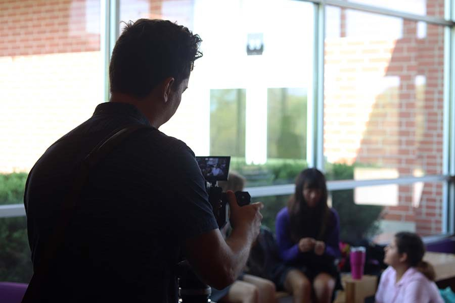 Videographers+followed+students+around+school+during+passing+periods+and+study+hall+Sept.+30+for+the+filming+of+the+school%27s+promotional+video+for+the+upcoming+Open+House+Oct.+20.