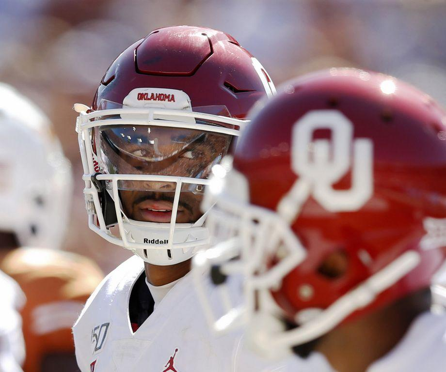 Oklahoma quarterback Jalen Hurts looks after scoring a touchdown during the second half against Texas in the Red River Showdown at the Cotton Bowl in Dallas on Saturday, Oct. 12, 2019. Oklahoma won, 34-27. (Vernon Bryant/Dallas Morning News/TNS)