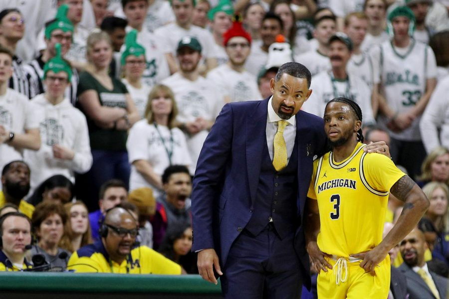 Related media: Text Michigan coach Juwan Howard talks with guard Zavier Simpson (3) in the second half of their college basketball game against Michigan State at the Breslin Center in East Lansing, on Sunday, January 5, 2020. Michigan State won the game, 87-69.
