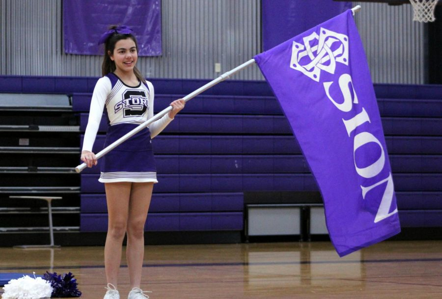 As+the+cheer+team+chants%2C+freshman+Paige+Castillo+waves+the+school+flag+for+all+to+see+during+the+pep+assembly+Friday%2C+Nov.+22.