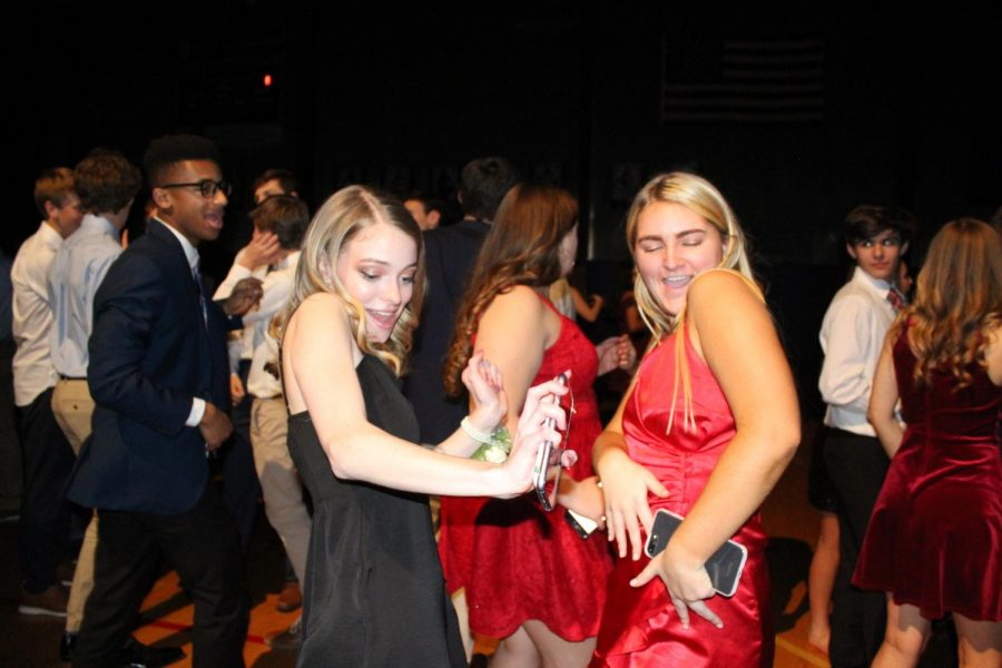 Sophomores Abby Thornhill and Tess Tappan dance with each other at Winter Formal Dec 7.