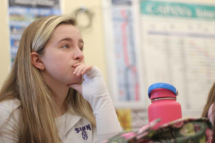 Sophomore Liesl Riffe listens to Lauren Cimpl, Class of '04, speak about her job at an insurance agency during Career Day on Jan. 16.