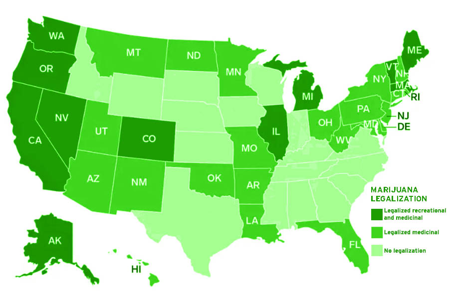 In 33 states marijuana is legal for medicinal use and 11 states have legalized it for both recreational and medicinal use.