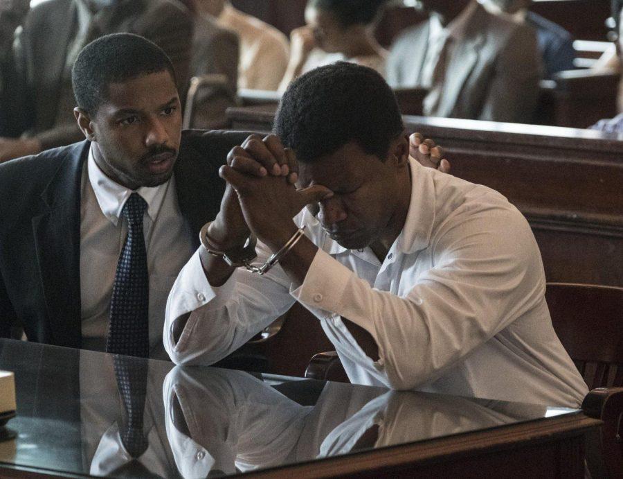 "From left: Bryan Stevenson (Michael B. Jordan) and Walter McMillian (Jamie Foxx) in ""Just Mercy"" [Warner Bros. Pictures)]"