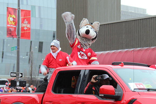 Kansas City Chiefs mascot KC Wolf greets fans from the back of a pickup truck at the Kansas City Chiefs Super Bowl LIV victory parade Feb. 5. The Kansas City Chiefs won 31-20 against the San Francisco 49ers.