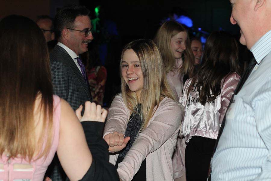 Sophomore Maddie Haukap dances during the annual Father-Daughter dance Saturday, Feb. 9 at the Sheraton in Overland Park, KS.