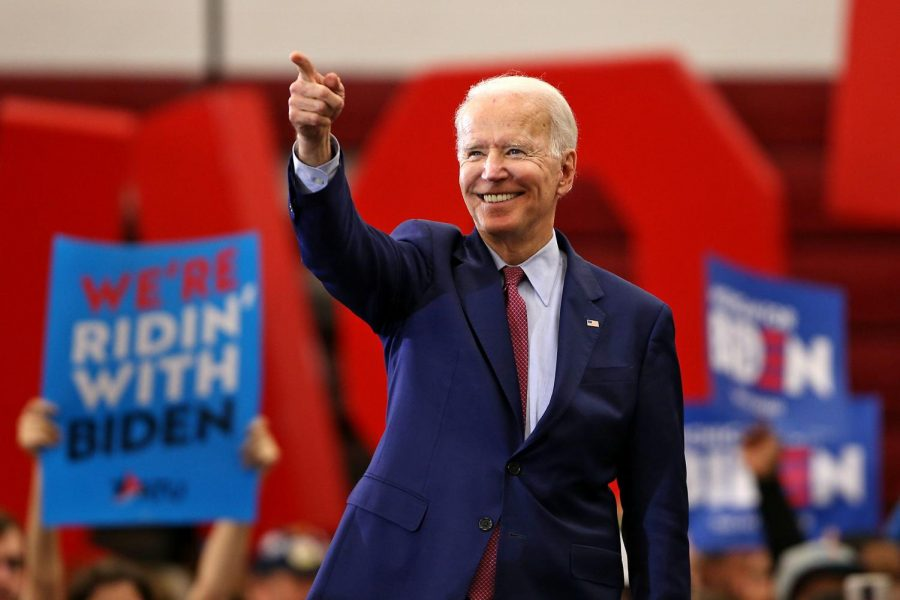 Democratic presidential candidate and former Vice President Joe Biden addresses supporters during a campaign rally at Renaissance High School in Detroit, on Monday, March 9, 2020.
