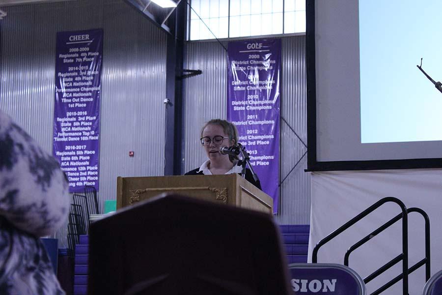Senior Grace Parrott presented a speech titled