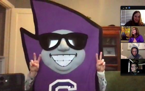 Ending off Spirit Week: Home Edition, students, teachers and faculty participated in the purple and white theme. Director of Athletics Kate Pilgreen joined in on theology teacher Polly Holmes' faith-filled life class dressed as mascot Stormy Friday, April 3.