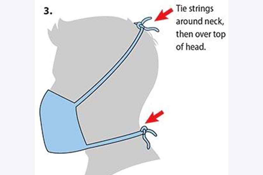 An illustration by the CDC of how to make a face mask. (Illustration by CDC)
