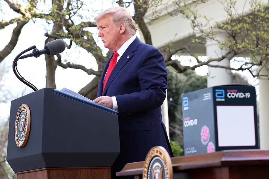President Donald Trump speaking during a press briefing on March 30 relating to the extended stay-home order.