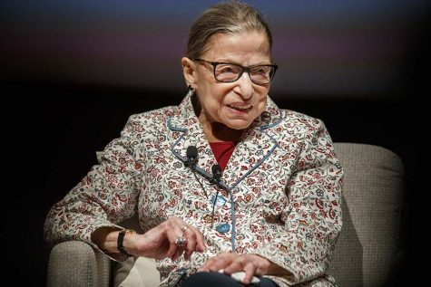 Ruth Bader Ginsburg speaks at a public conversation at the University of Chicago on Sept. 9, 2019.