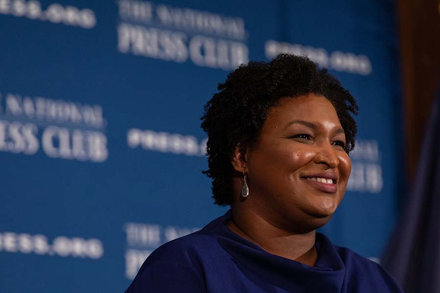 Stacey Abrams, former Georgia House Democratic Leader, speaks to attendees at the National Press Club Headliners Luncheon in Washington, D.C., on November 15, 2019. (Cheriss May/Sipa USA/TNS)