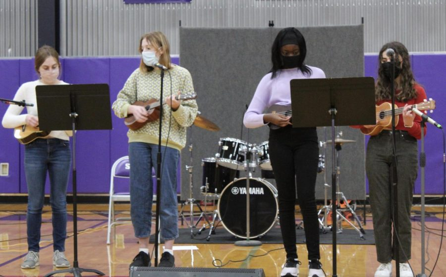 """The Ukulele Club performs """"Someone You Loved"""" by Lewis Capaldi at the Tri-M recital on April 7."""