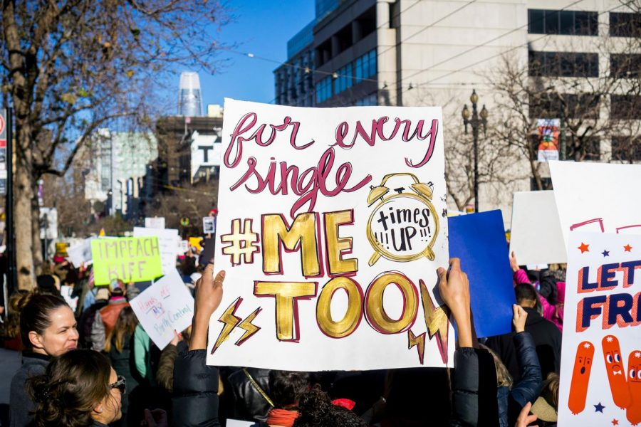 Men and women alike protest sexual assault in San Francisco in Jan. 2018.