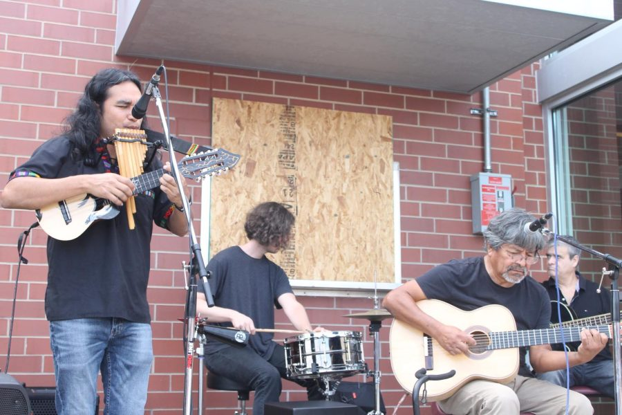 The Hispanic band Ayllu adds joyful music to the celebration as they perform for the school in the circle drive.