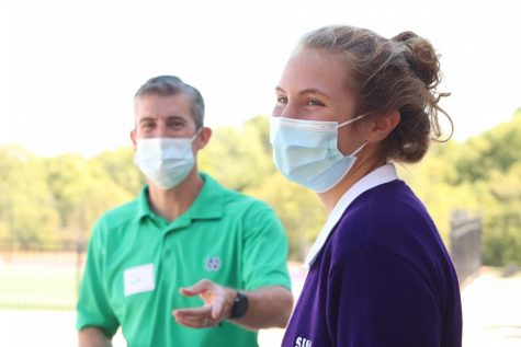 Sophomore Lucy Wittek shares her experience at Sion with touring families.
