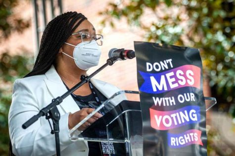 U.S. Rep. Nikema Williams speaks out in support of the For the People Act and the John Lewis Voting Rights Act at the March on Atlanta for Voting Rights on Aug. 28.