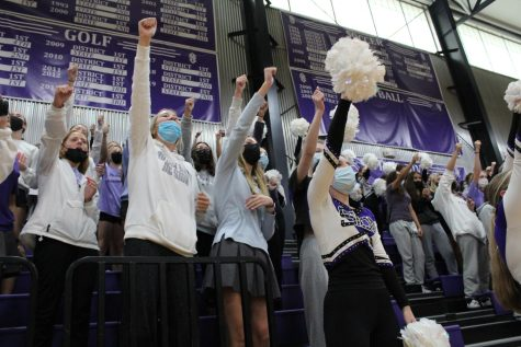 Seniors participate in the singing of the school song.